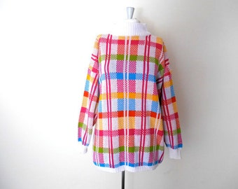 Neon Plaid Oversize Sweater - Oversized Pullover Jumper - Red Yellow Gold Green Blue - Vintage 80s Grunge Slouchy Womens - One Size Fits All