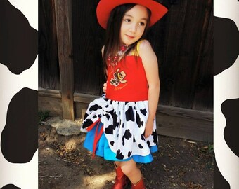 Cowgirl Jessie Western Rodeo Story Princess Poppy dress Cow Print Toy Woody Bounding