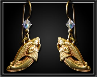 Small 14k Gold Plated Angel Earings