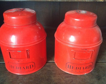 Vintage French Paris large red commercial shop tea storage tins containers sold separately circa 1960-70's / English Shop
