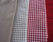 Christmas table decor-red Gingham plaid linen tablecloth-christmas table runner Solid red oatmeal beige square tablecloth-kitchen table