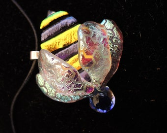 Fused Dichroic Glass Bee Pendant