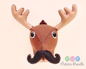 Small Deer Moose Sewing Pattern, Plush Felt Stuffed Animal Head, Funny DIY Gift, Holiday Reindeer, Mustache and Bow Tie