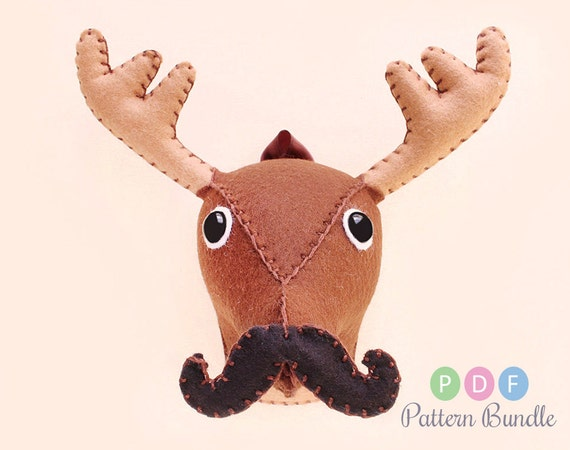 Small deer moose sewing pattern plush felt stuffed by aicreatures - Fake stuffed moose head ...