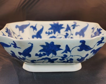 Antique Chinese Blue & White Earthenware Rectangle Bowl Signed Kangxi Period Early 20th