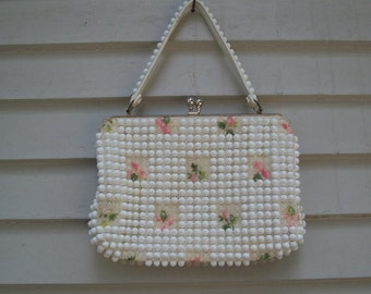 Vintage Beaded And Embroidered Handbag / Beaded Clutch / Embroidered Purse