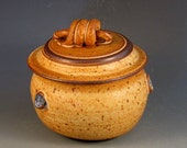 Trinket Jar With Lovely Soft Brown Glaze, Specks, Decorative Handle, Buttons, Ready To Ship