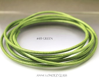 8 inches green leather cord 3 mm green Core leather cord 3mm green cord leather