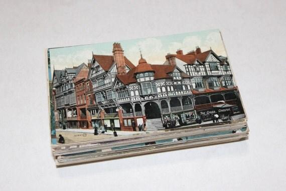 100 Vintage England Color Postcards Blank - Wedding Guestbook