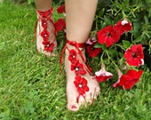 Red Tropical Flower Barefoot Sandals - Garnet Blossoms and Pearls  Bare Feet Anklet Footless Sandles for Beach Ocean Wedding or Poolside