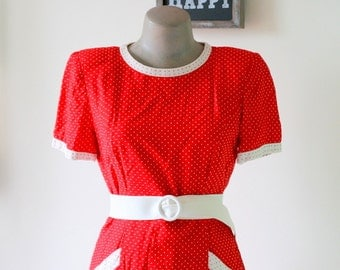 Vintage ANN TAYLOR Red Polka Dots Dress.....size small to medium...mod. red. polka dots. 1980s dress. retro. designer dress. classic.