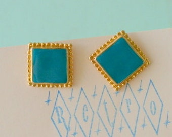 1980s Vintage PRETTY PRINCESS Earrings...retro accessories. mod. geometric. bright. teal. pierced ears. square. urban. indie. mint. green