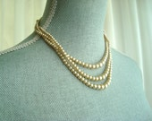Faux Pearl Necklace, Classic Champagne Triple Strand Necklace, Formal, Bridal Jewelry