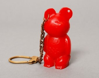 Vintage key fob, key ring, red plastic  Moscow 80 Olympic games bear