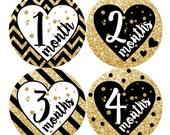 Baby Month Milestone Sticker FREE Baby Month Sticker Baby Girl Bodysuit Stickers Baby Monthly Sticker, Chevron Glitter Gold Black Heart 162G