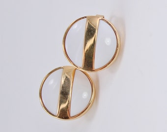 SALE 10 PERCENT Off Vintage 1977 Signed Avon Summerset Gold Tone White Lucite Round Stripe Circular Button CLIP On Stud Style Earrings