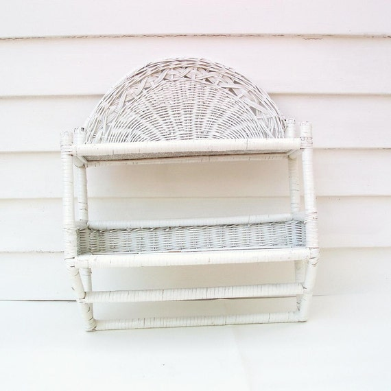 Vintage White Wicker Bathroom Shelving Wall Shelf Towel Hanger