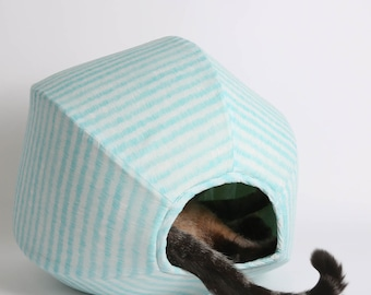 Cat Ball Cat Bed in Aqua and White Stripes Organic Cotton Fabric