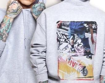 Skater Hoodie - Urban Grunge  - street wear underground -  grunge apparel -  skate boarder, street scene, steet wear, sk8, scene hoodie