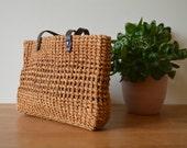 Woven Raffia Bag // Vintage 1980s Leather Tote Crochet Grass Handbag