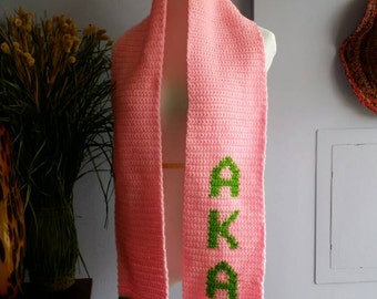 Pink and green Scarf - Made to Order