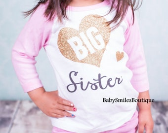 Big Sister Shirt Big Sis Sister to be Personalized Shirt Sibling Shirt Baby Announcement Shirt Pregnancy Announcement Gold Glitter Shirt 301