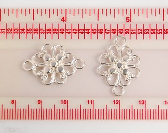1 piece: bright sterling silver filigree links, connectors, pendants, chandelier, earring findings, flowers, size 25x17x1mm