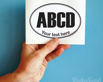 your text custom oval vinyl bumper sticker