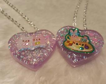 Glitter kawaii resin necklaces tea cup lama