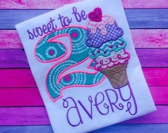 Sweet To Be Ice Cream Birthday Shirt