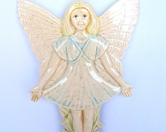 Ceramic Vintage PINK WALL ANGEL/ Girls' Bedroom Decor