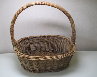 Vintage Twig Basket With Handle