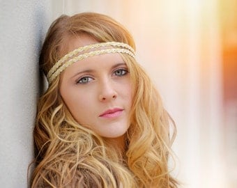 Two Strand White Gold Wedding Crown Embellished Gatsby Headpiece Accessories Bridal Hair Accessory Boho Headband