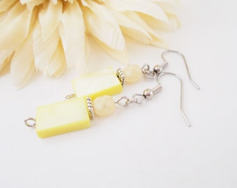 Yellow Earrings, Jonquil Earrings, Beaded Earrings, Mother of Pearl, Shell Earrings, Wedding Jewelry, Bridal Earrings, Handcrafted Earrings