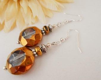 Statement Earrings, Copper Drop Earrings, Crystal Earrings, Clip Ons, Gypsy Earrings, Beaded Earrings, Bronze Earrings, Nickel Free Earrings