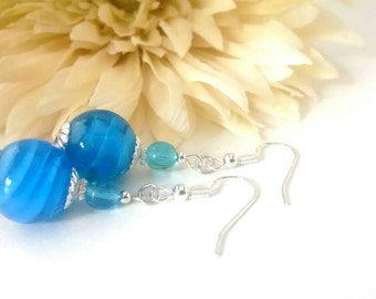 Aqua Earrings, Bright Blue Drop Earrings, Nickel Free Earrings, Lampwork Earrings, Glass Beaded Earrings, Sterling Silver, Hypoallergenic