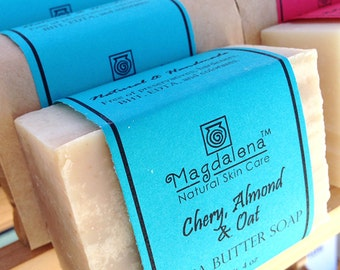 Cherry Almond & Oat Shea Butter Soap, Herbal Soap, Natural Soap, exfoliating, scrub