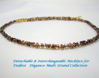 Shop CLOSING SALE, Amber Celsian Farfalle for Multi Strand Interchangeable Necklace multi brown and crystal peanut bead golden brown  2x4