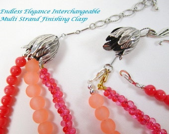 Interchangeable Finishing Tulip Cone Clasp for Multi Strand Necklace Antique Silver Convertible Clasp for Special Free Multi Wear Clasp