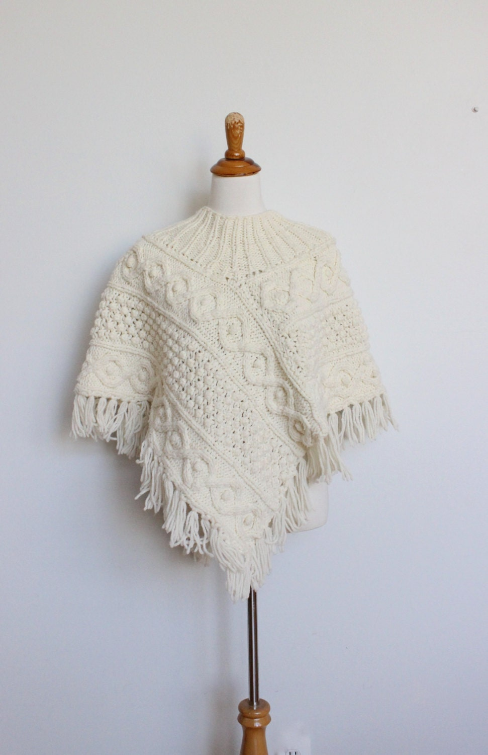Wool Cape Knitting Pattern : Vintage Wool Cape // Hand Knit Cable Sweater Wool // Fisherman