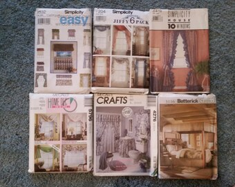 Lot 6 1980s-2000s Window, Bathroom and Bedroom Sewing Patterns