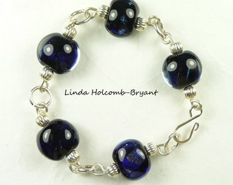 Bracelet of Ink Blue Lampwork Glass Beads