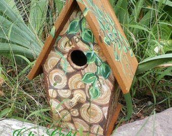 Decopage Wood Pile Birdhouse