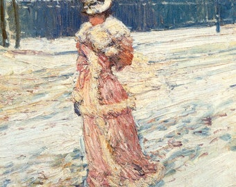 Lady in Pink, Childe Hassam - Cross stitch pattern pdf format