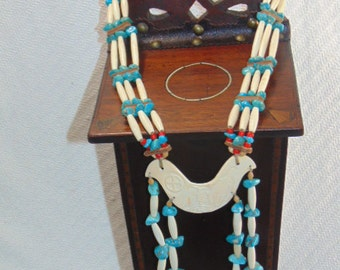 Vintage Hand Made Native American Signed Ceremonial Turquoise Necklace
