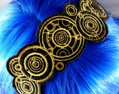 Doctor Who Gallifreyan Headband - Gold and Black Nerdy Headband Geeky Headband Whovian Headband Doctor Who Headband
