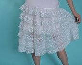 Vintage 1950s White Ruffled Petticoat - Floral Embroidered - Bridal Fashions