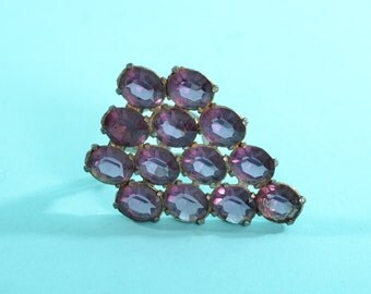 Vintage 1930s Purple Dress Clip - Rhinestone Jewelry - Bridal Fashions