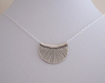 Semi CIRCLE oxidized sterling silver necklace, geometric necklace, tribal, boho necklace