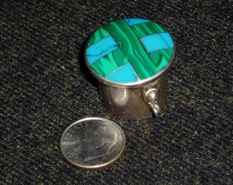 Pill Box, Malachite, Turquoise and Sterling Silver